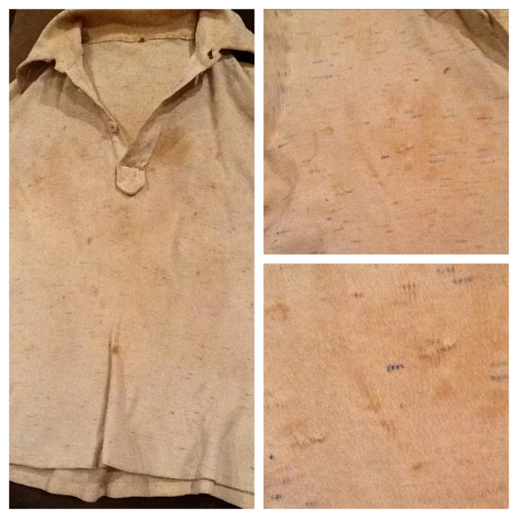Robert's shirt with sewn up bullet holes