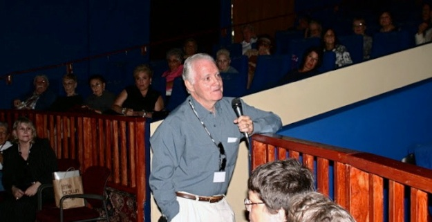 "Richard Bloom addressing the audience at Cinema Paradiso in Florida at the Fort Lauderdale premiere of ""Transport XX to Auschwitz""."