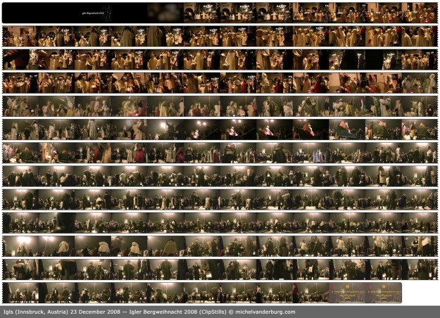"Storyboard (a collage of subsequent frames) of the video ""Igler Bergweihnacht 2008""."