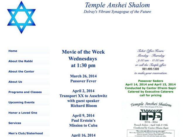 "Screening ""Transport XX to Auschwitz "" April 2, 2014  with guest speaker Richard Bloom in Temple Anshei Shalom Delray's Vibrant Synagogue of the Future Florida , US (Image ref BUM10046V01) http://www.templeansheishalom.org/upcomingevents.html"