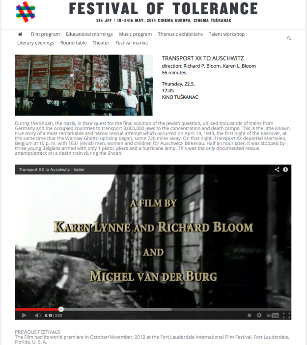 """Transport XX to Auschwitz"" screening - Festival of Tolerance | May, 2014, Zagreb, Croatia"