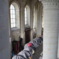 Afghan 'camp' in the Beguinage church in Brussels (Belgium)