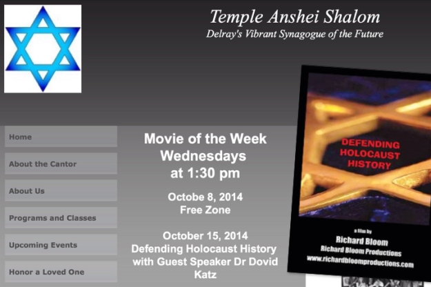 """Defending Holocaust History"" documentary - special showing at Temple Anshei Shalom, Delray, Florida , US"
