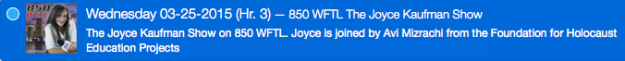850 WFTL The Joyce Kaufman Show Wednesday 03-25-2015 (Hr. 3) blue