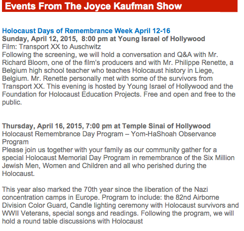 Event details at site The Joyce Kaufman Show