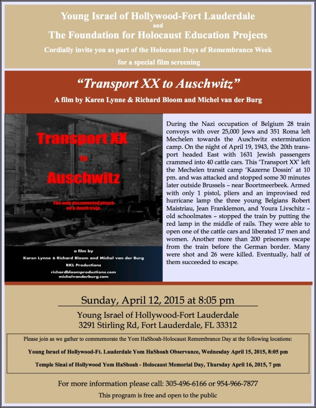 "Screening ""Transport XX to Auschwitz "" - USA - Remembrance Week 2015"